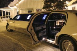 limousine and a white inside it